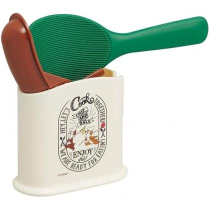 小禮堂 迪士尼 奇奇蒂蒂 塑膠飯匙附收納盒 挖匙 飯勺 餐具盒 (棕綠 廚師)