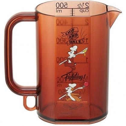 小禮堂 迪士尼 奇奇蒂蒂 日製 單耳塑膠量杯 透明量杯 烘焙量杯 500ml (深棕 廚師)