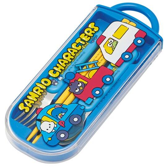 小禮堂 Sanrio大集合 日製 滑蓋三件式餐具組 筷匙 叉匙 環保餐具 兒童餐具 (藍 車車)