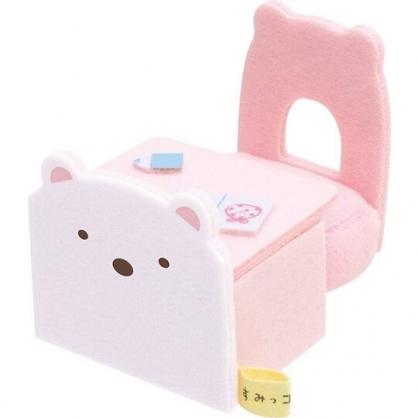 小禮堂 角落生物 北極熊 迷你絨毛玩偶桌椅組 布偶桌 布偶椅 玩偶配件 (白)