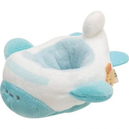 小禮堂 角落生物 迷你絨毛玩偶娃娃飛機 玩偶配件 布偶飛機 (藍白)