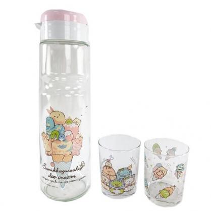 小禮堂 角落生物 日製 無把玻璃水壺水杯組 透明水壺 透明水杯 杯壺組 (3入 粉 冰淇淋)