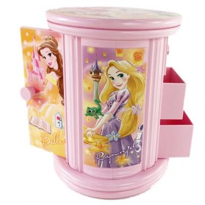 小禮堂 迪士尼 公主 圓形旋轉收納盒 三格抽屜盒 塑膠收納盒 飾品盒 小物收納 (粉)