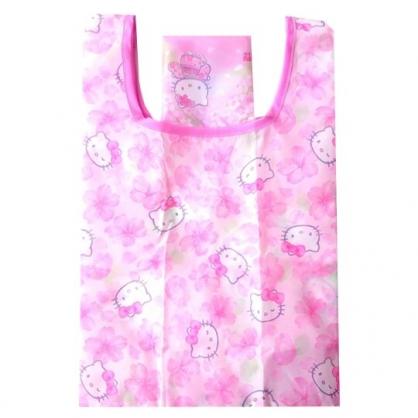 小禮堂 Hello Kitty 折疊尼龍環保購物袋 環保袋 側背袋 (粉 櫻花和服)