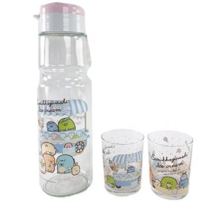 小禮堂 角落生物 日製 無把玻璃水壺水杯組 透明水壺 透明水杯 杯壺組 (3入 粉 攤車)