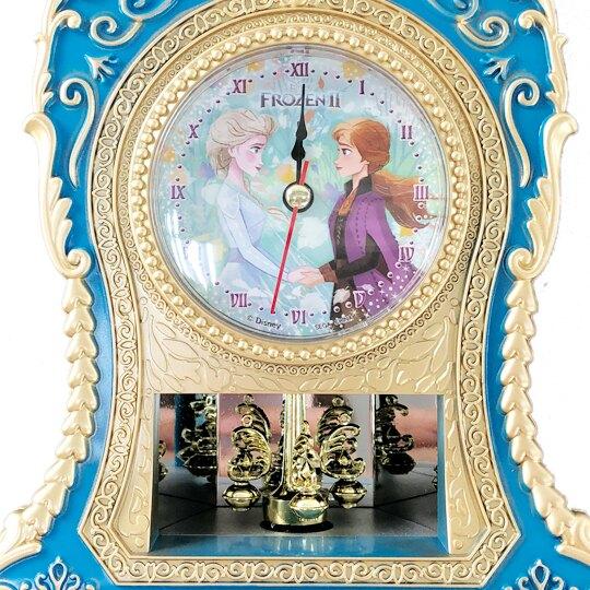 小禮堂 迪士尼 冰雪奇緣 造型復古雕花時鐘 造型桌鐘 音樂時鐘 (深藍金)