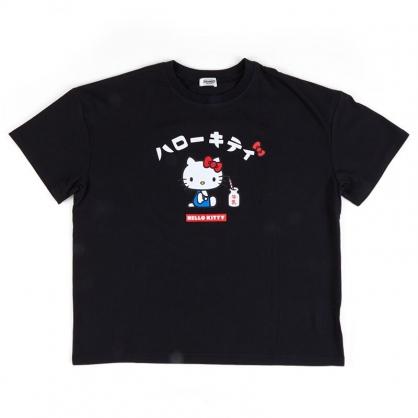 小禮堂 Hello Kitty 棉質圓領短袖上衣 休閒上衣 T-shirt 短T 棉T (黑 經典坐姿)