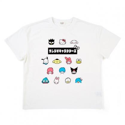 小禮堂 Sanrio大集合 棉質圓領短袖上衣 休閒上衣 T-shirt 短T 棉T (白 角色大臉)