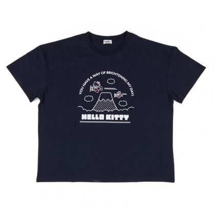 小禮堂 Hello Kitty 棉質圓領短袖上衣 休閒上衣 T-shirt 短T 棉T (深藍 飛機)