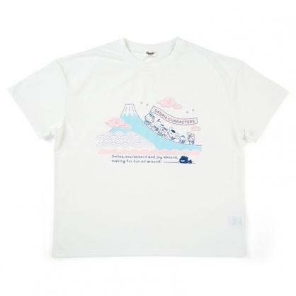 小禮堂 Sanrio大集合 棉質圓領短袖上衣 休閒上衣 T-shirt 短T 棉T (白 富士山)