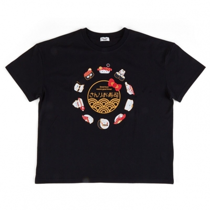 小禮堂 Sanrio大集合 棉質圓領短袖上衣 休閒上衣 T-shirt 短T 棉T (黑 壽司)