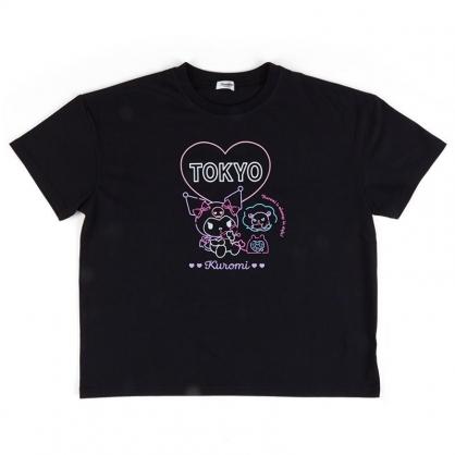 小禮堂 酷洛米 棉質圓領短袖上衣 休閒上衣 T-shirt 短T 棉T (黑 TOKYO)