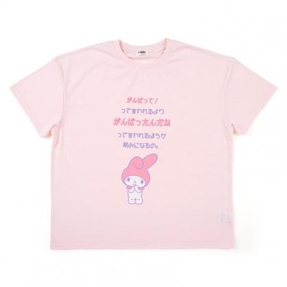 小禮堂 美樂蒂 棉質圓領短袖上衣 休閒上衣 T-shirt 短T 棉T (粉 文字)