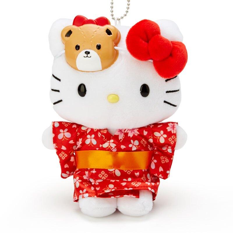 小禮堂 Hello Kitty 絨毛吊飾 玩偶吊飾 玩偶鑰匙圈 (紅白 夏日祭典)