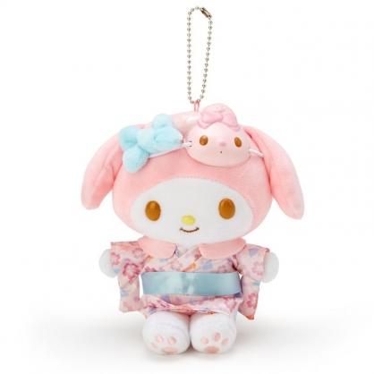 小禮堂 美樂蒂 絨毛吊飾 玩偶吊飾 玩偶鑰匙圈 (粉藍 夏日祭典)