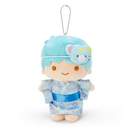 小禮堂 雙子星KIKI 絨毛吊飾 玩偶吊飾 玩偶鑰匙圈 (藍 夏日祭典)