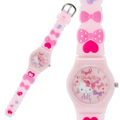小禮堂 Hello Kitty 矽膠錶帶兒童手錶 休閒腕錶 造型錶 透明盒裝 (桃粉 蝴蝶結)