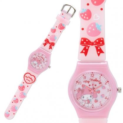 小禮堂 美樂蒂 矽膠錶帶兒童手錶 休閒腕錶 造型錶 透明盒裝 (紅粉 草莓)