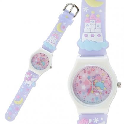 小禮堂 雙子星 矽膠錶帶兒童手錶 休閒腕錶 造型錶 透明盒裝 (紫黃 獨角獸)