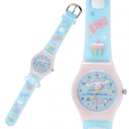 小禮堂 大耳狗 矽膠錶帶兒童手錶 休閒腕錶 造型錶 透明盒裝 (藍粉 甜點)
