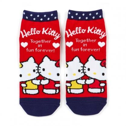 小禮堂 Hello Kitty 成人短襪 隱形襪 及踝襪 船形襪 腳長23-25cm (紅藍 mimmy)