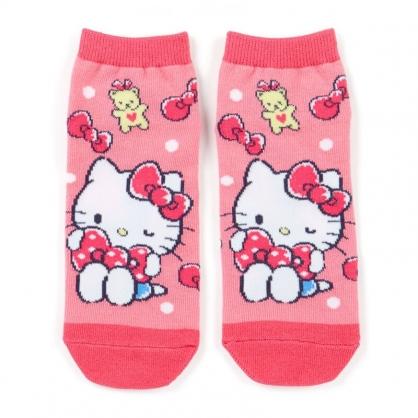 小禮堂 Hello Kitty 成人短襪 隱形襪 及踝襪 船形襪 腳長23-25cm (粉 蝴蝶結)
