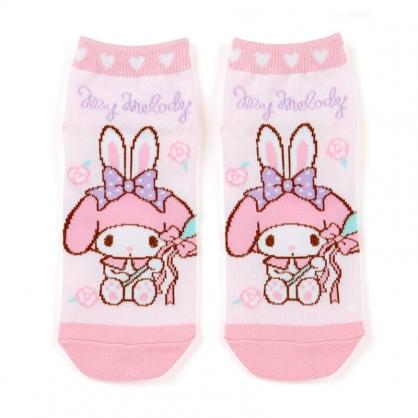 小禮堂 美樂蒂 成人短襪 隱形襪 及踝襪 船形襪 腳長23-25cm (粉紫 湯匙)