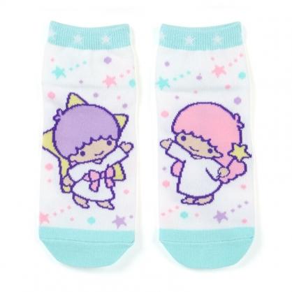 小禮堂 雙子星 成人短襪 隱形襪 及踝襪 船形襪 腳長23-25cm (白綠 星星)