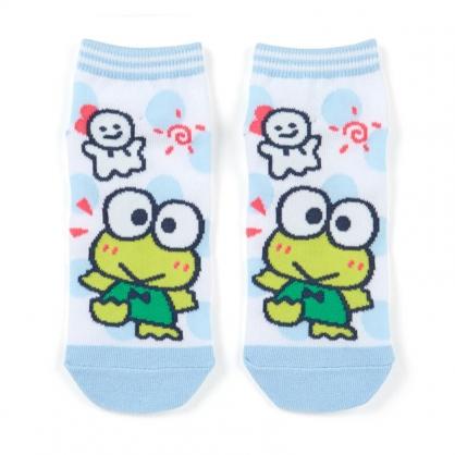 小禮堂 大眼蛙 成人短襪 隱形襪 及踝襪 船形襪 腳長23-25cm (綠白 點點)