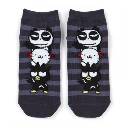 小禮堂 酷企鵝 成人短襪 隱形襪 及踝襪 船形襪 腳長23-25cm (黑白 橫紋)