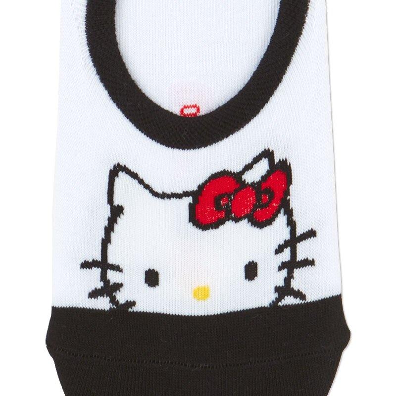小禮堂 Hello Kitty 成人短襪 隱形襪 及踝襪 船形襪 腳長23-25cm (黑白 大臉)
