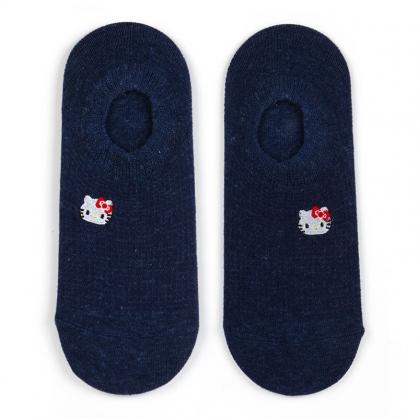 小禮堂 Hello Kitty 成人短襪 隱形襪 及踝襪 船形襪 腳長23-25cm (深藍 刺繡大臉)