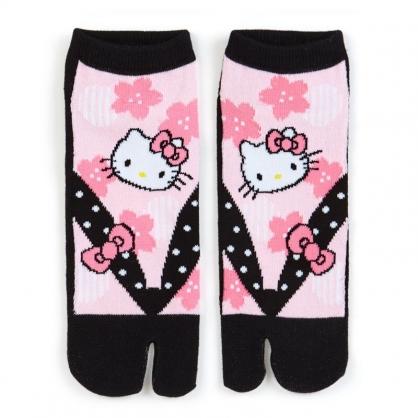 小禮堂 Hello Kitty 成人分指襪 木屐襪 及踝襪 隱形襪 船形襪 腳長23-25cm (粉黑 櫻花)