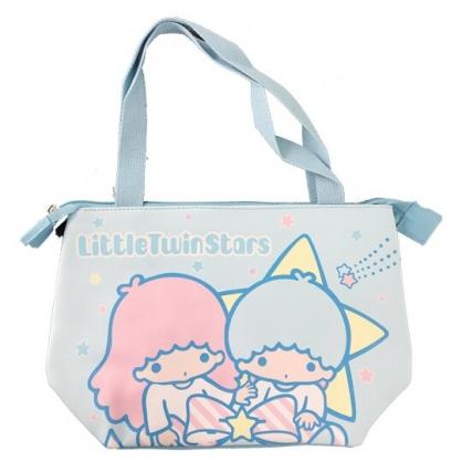 小禮堂 雙子星 橫式皮質保冷便當袋 保冷提袋 野餐袋 手提袋 (藍 蝴蝶結)