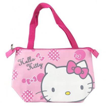 小禮堂 Hello Kitty 橫式皮質保冷便當袋 保冷提袋 野餐袋 手提袋 (粉 大臉)