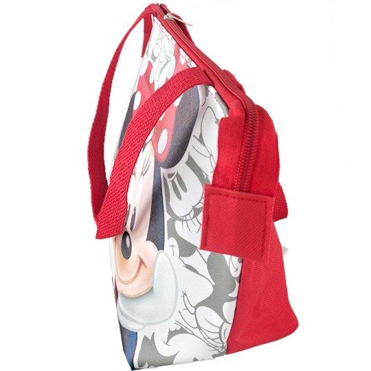 小禮堂 迪士尼 米妮 橫式皮質保冷便當袋 保冷提袋 野餐袋 手提袋 (紅灰 摸臉)