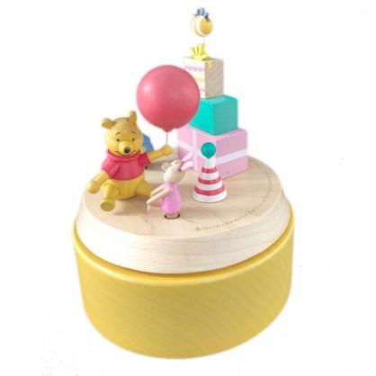 小禮堂 迪士尼 小熊維尼 造型木質旋轉音樂鈴 復古音樂盒 旋轉音樂盒 (黃白 禮物)