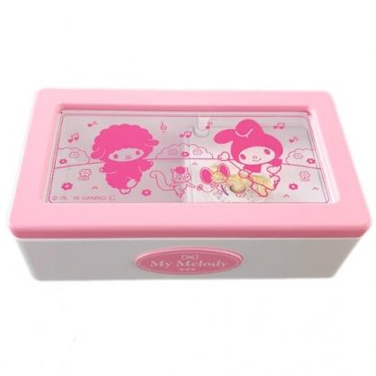 小禮堂 美樂蒂 日製 方形音樂鈴珠寶盒 飾品盒 復古音樂盒 音樂收納盒 (粉白 音符)
