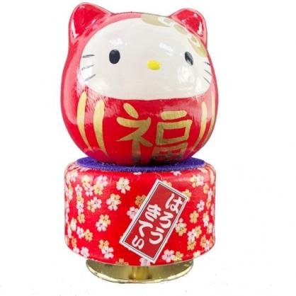 小禮堂 Hello Kitty 日製 達摩造型旋轉音樂鈴 復古音樂盒 旋轉音樂盒 (紅白)