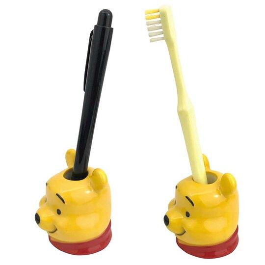小禮堂 迪士尼 小熊維尼 造型陶瓷牙刷架 牙刷座 筆架 (黃 大臉)