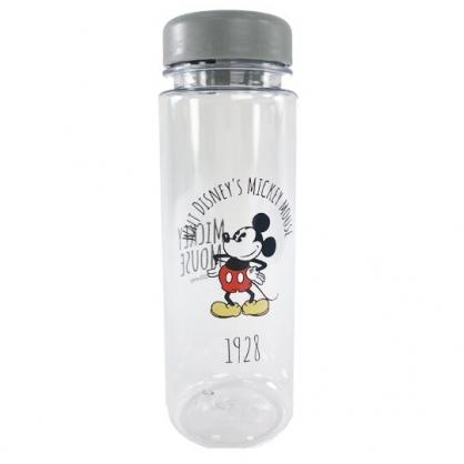 小禮堂 迪士尼 米奇 透明隨身冷水瓶 塑膠水瓶 兒童水壺 480ml (灰蓋 撐腰)