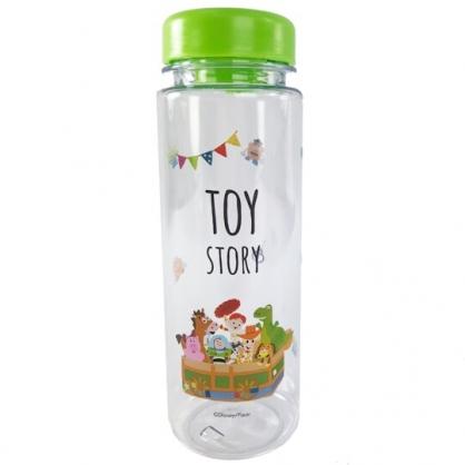 小禮堂 迪士尼 玩具總動員 透明隨身冷水瓶 塑膠水瓶 兒童水壺 480ml (綠蓋 箱子)