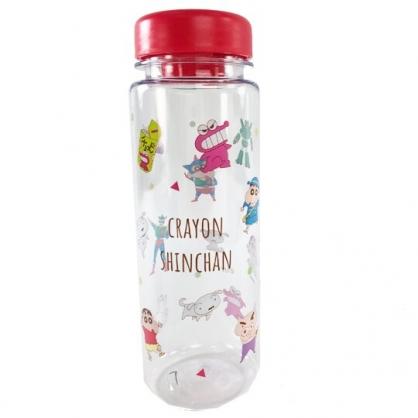 小禮堂 蠟筆小新 透明隨身冷水瓶 塑膠水瓶 兒童水壺 480ml (紅蓋 角色滿版)