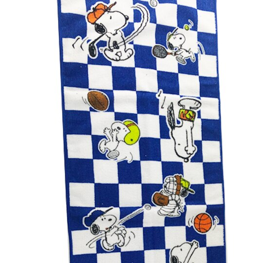 小禮堂 史努比 純棉無捻紗浴巾 純棉浴巾 身體毛巾 34x100cm (深藍白 格紋)