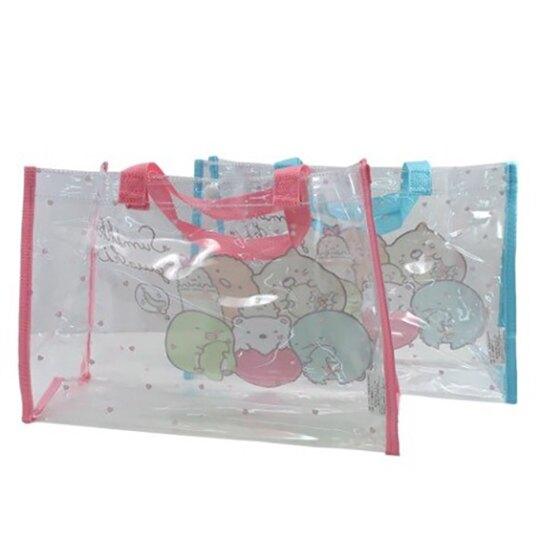 小禮堂 角落生物 透明海灘袋 透明側背袋 防水提袋 泳具袋 (綠粉 愛心)