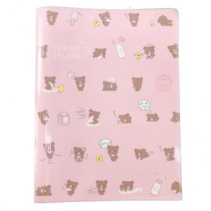 小禮堂 懶懶熊 A4雙開式文件夾 資料夾 檔案夾 L夾 (粉棕 牛奶瓶滿版)