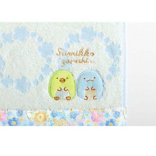 小禮堂 角落生物 純棉無捻紗方巾 手帕 小毛巾 25x25cm (藍綠 下襬花朵)