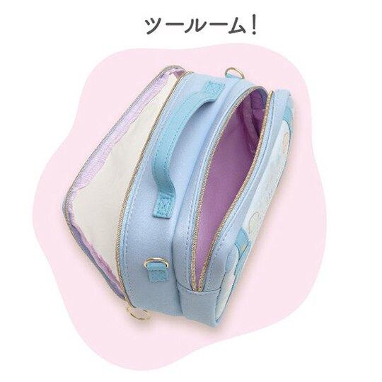 小禮堂 角落生物 方形皮質雙層斜背包 玩偶收納包 透明提包 手提包 (藍 海底)