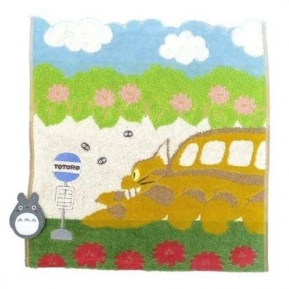 小禮堂 宮崎駿 龍貓 純棉無捻紗短毛巾 純棉毛巾 方形毛巾 34x36cm (藍綠 公車站)