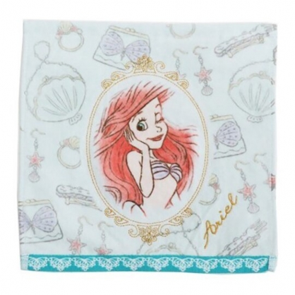小禮堂 迪士尼 小美人魚 純棉無捻紗方巾 手帕 小毛巾 25x25cm (綠金 圓鏡框)